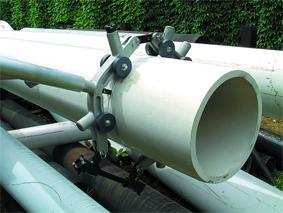 применение роторного (поворотного) трубореза для пластиковых труб большого диаметра рид reed